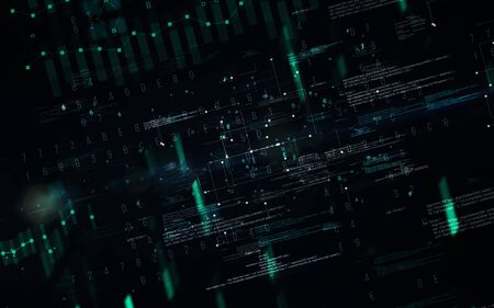 Abstract digital matrix background. Futuristic big data information technology concept. Motion graphic for abstract data center, block chain, server, internet, hi-speed. Reklamní fotografie - 150148329