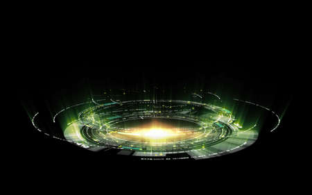 Abstract futuristic circular hologram and spaceship technology with green and gold light on dark black background Reklamní fotografie - 151325551