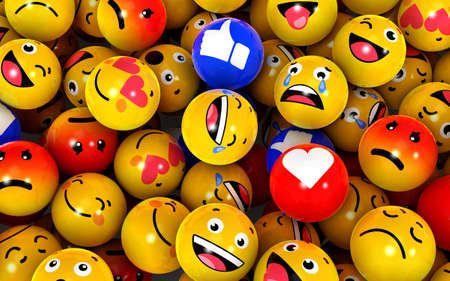 3d Illustration Emojis icons with facial expressions. Social media concept.