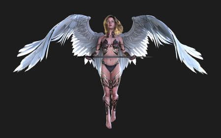 The Heaven Angel Wings, White Wing Plumage Isolated on Black Background   .