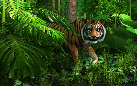 Portrait of a tiger in the wild. Scary looking male royal bengal tiger staring towards the camera from inside the jungle. 3d illustration Reklamní fotografie