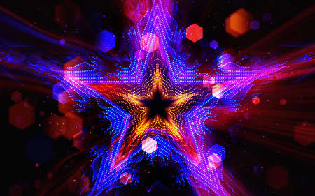 Colorful motion design background with star pattern. Abstract sci-fi background with glow particles form star shape, surfaces, hologram or virtual digital space.