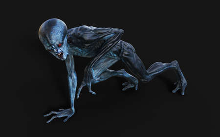 3d Illustration of a red eyes alien on dark background with clipping path. Reklamní fotografie