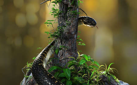 3d Illustration of King cobra or big black snake coiling around tree on blur jungle background. 3D rendered model with clipping path.