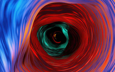 Abstract of multicolor round twirl or swirl blur lines with black color in the center. Blue and hot red, orange tone background. Reklamní fotografie