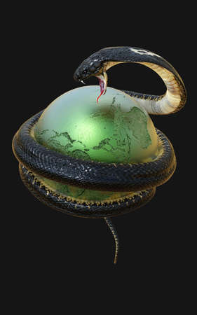 King Cobra Snake Around Planet Earth - Globe Map Symbolizing Danger Isolated on Dark Background