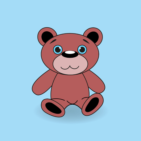 Brown teddy bear on a blue background