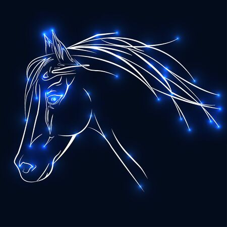 The horse consists of luminous points. Vector illustration of a starry sky. The construction of the light connection.
