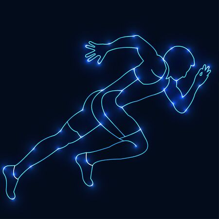 Figure athlete, built from the points or the starry sky.