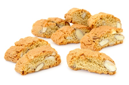 Delicious almond biscuits on white background Stock Photo