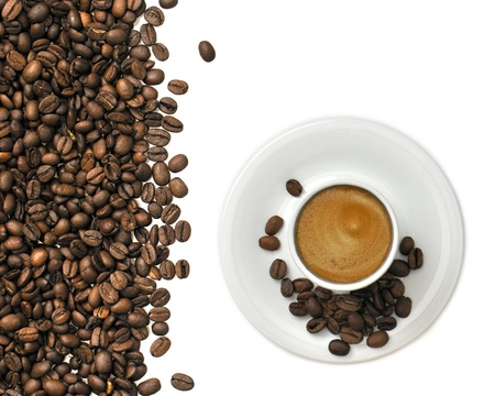 Espresso cup and coffee beans on white background Stock Photo