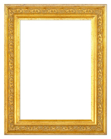 plated: An old picture frame isolated on white background with clipping path Stock Photo