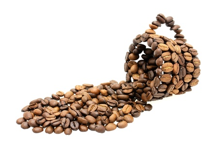 A cup made of coffee beans on white background. Stock Photo