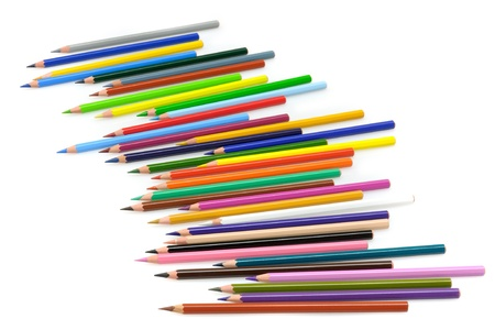 Set of colored pencils on white background Stock Photo