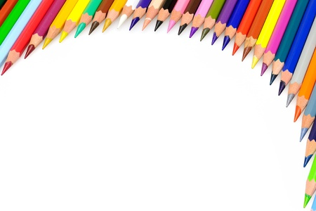 pencil writing: Frame of coloured pencils on white background. Stock Photo