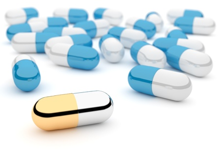 Close-up of 3D pills on white background, shallow DOF (depth of field)