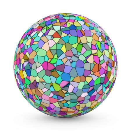 3D sphere with Voronoi tessellation on white background photo