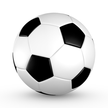 Soccer ball with black and white truncated icosahedron pattern photo