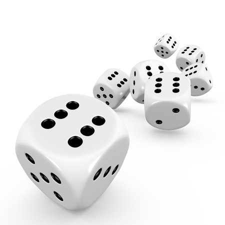 Seven dice on white background