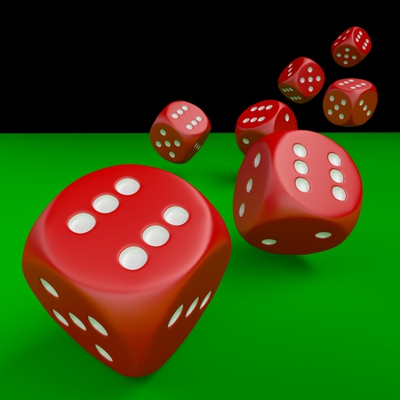 Seven red dice on green table isolated