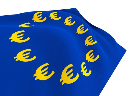 Euro currency flag isolated on white background  photo