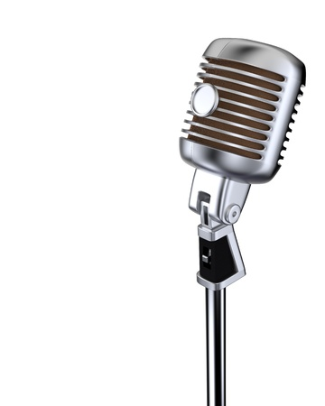 Classic microphone on white background