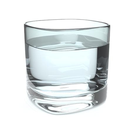 thirst quenching: A glass of fresh water on white background