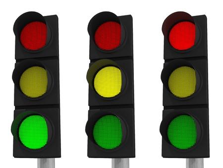 señal de transito: Tres semáforos de color verde, amarillo y rojo sobre fondo blanco con trazados de recorte