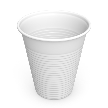 Close-up of a white plastic cup on white background
