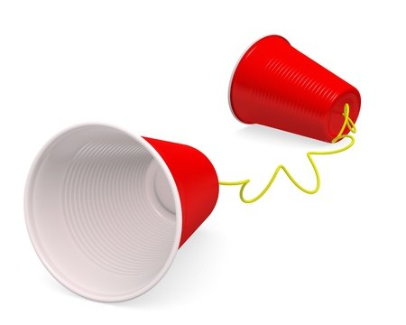 Tin can telephone  made up of two red plastic cups on white background