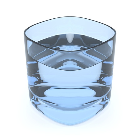 3D render of a light blue glass of fresh water on white background