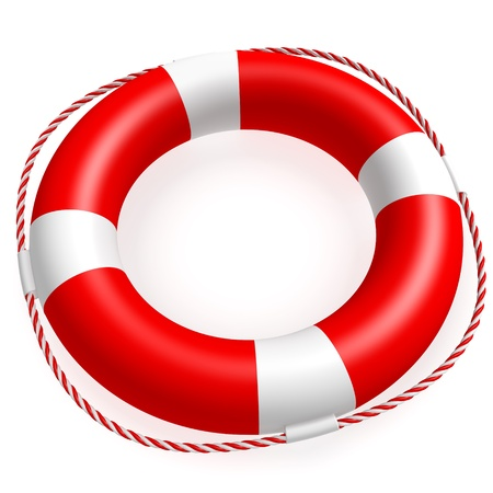 ring life: A ring buoy isolated on white background  Computer generated image with clipping path