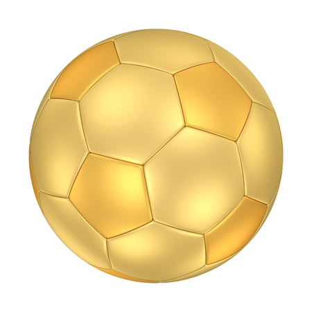 A golden football isolated on white background   Stock Photo - 13798948