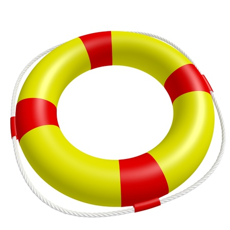 life saver: A ring buoy isolated on white background