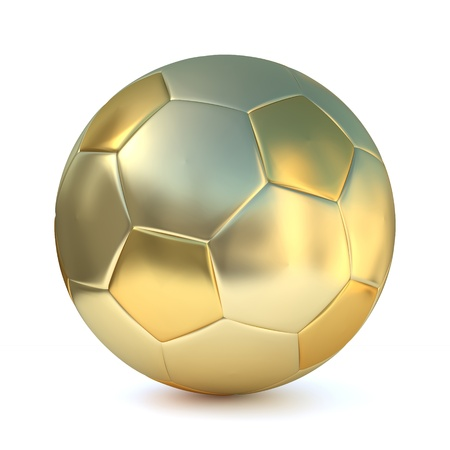 A golden football on white background  Computer generated image with clipping path  Stock Photo