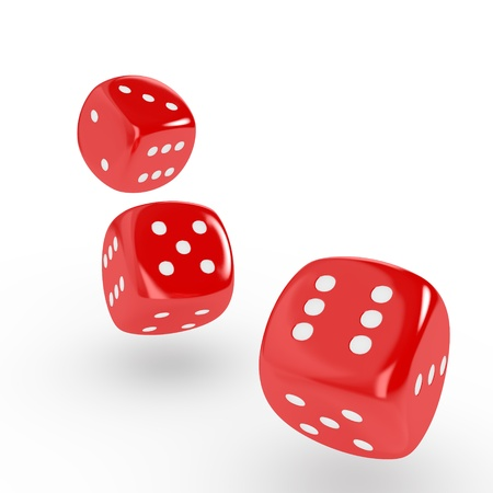kostky: Tři červené kostky na bílém pozadí počítačem generovaný obraz