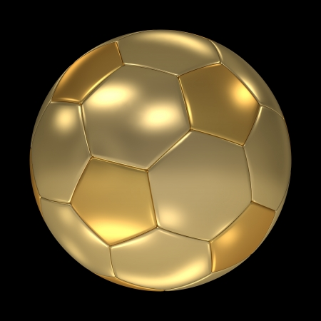 metal ball: A golden soccer ball isolated on black background  Computer generated image