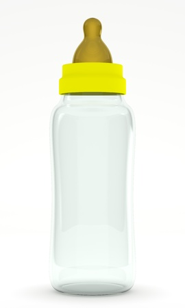 An empty baby bottle  biberon  isolated on white background  Computer generated image  Stock Photo