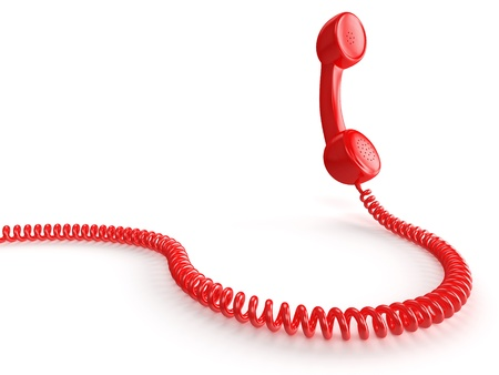 telephone receiver: A red telephone receiver on white background  Computer generated image with clipping path