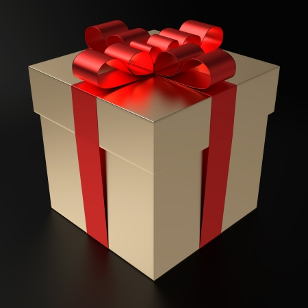 A gilt gift box with metallized red ribbon on black background  Computer generated image with clipping path  photo
