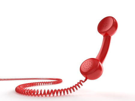 A red telephone receiver on white background  Computer generated image with clipping path