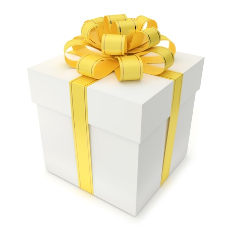 metallized: A blank gift box with ribbon and bow isolated on white background  Computer generated image with clipping path  Stock Photo