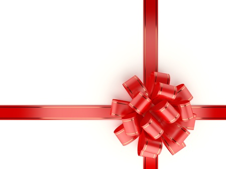 metallized: Red gift ribbon and bow isolated on white background  Computer generated image with clipping path  Stock Photo