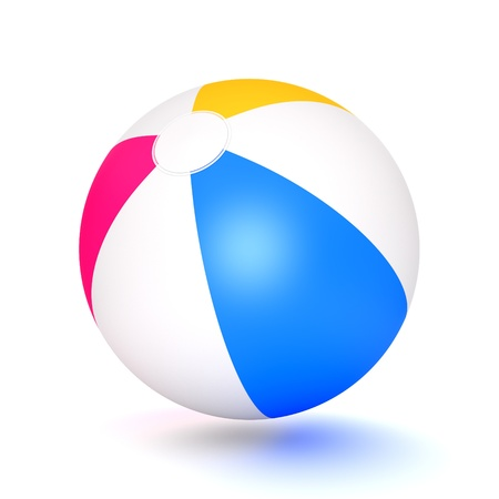 beach game: A classic beach ball isolated on white background  Computer generated image with clipping path