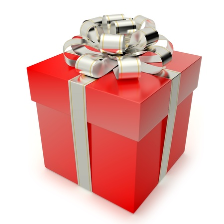 metallized: A red gift box with silver ribbon and bow isolated on white background  Computer generated image with clipping path