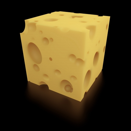 edam: Close-up of a cube of Swiss cheese on black background with clipping path  Stock Photo
