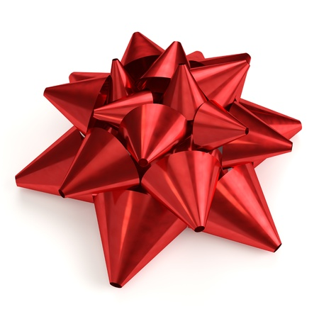 metallized: Red bow isolated on white background  Computer generated image with clipping path  Stock Photo