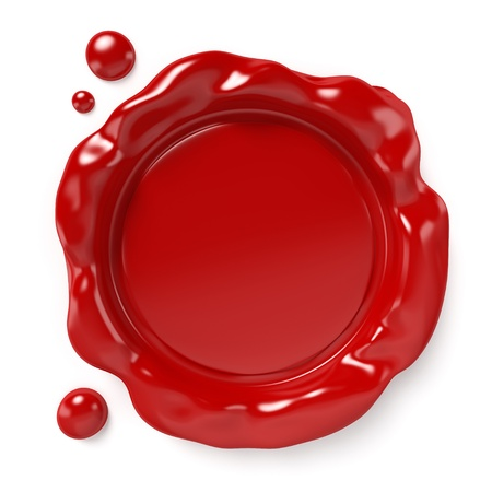 Red wax seal with space for logo or text isolated on white background  Computer generated image with clipping path  photo