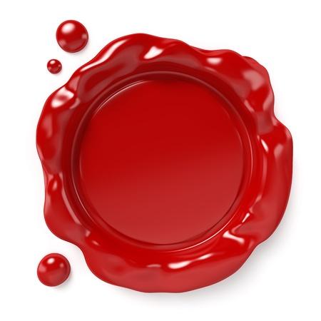 Sigillo di cera rossa con spazio per il logo o un testo isolato su bianco Computer generato sfondo con percorso di clipping