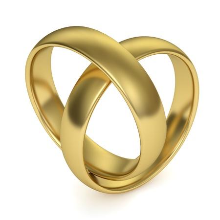 Wedding rings jointed in the shape of a heart, isolated on white background  Computer generated image with clipping path